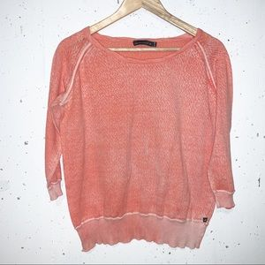 William Rast Coral Orange Distressed Wash Out  Light Sweater Size XL
